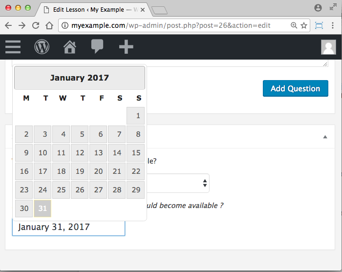 WooCommerce Sensei LMS Content Drip Add-On -How to select date