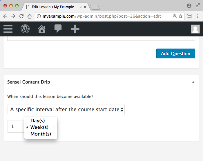 WooCommerce Sensei LMS Content Drip Add-On -Interval Option