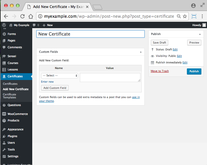 WooCommerce Sensei LMS Certificates Add-On -New Certificate