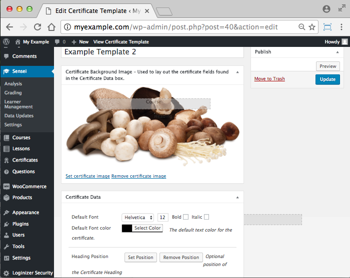 WooCommerce Sensei LMS Certificates Add-On -Set Position for Certificate Text