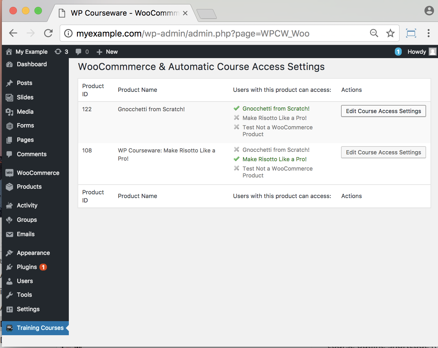 WP Courseware Plugin-backend Course Access Settings