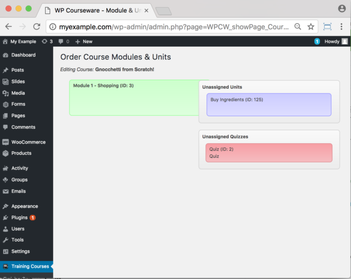 WP Courseware Plugin- backend Drag and Drop