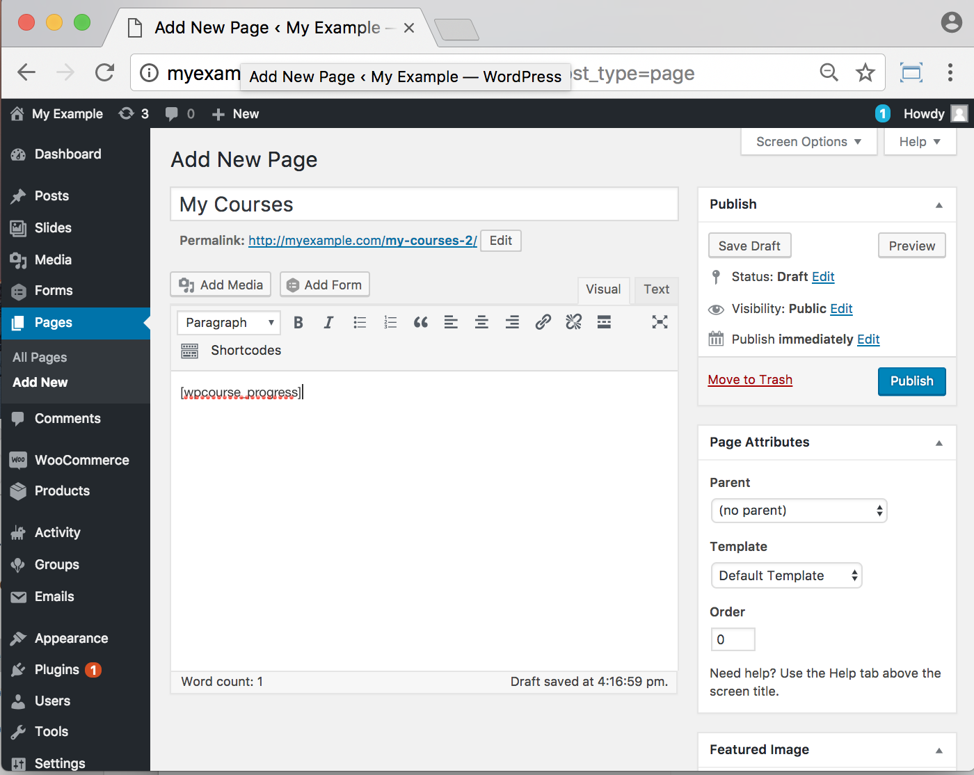 WP Courseware Plugin- backend Add Page
