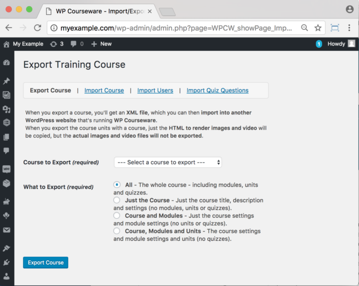 WP Courseware Plugin- Backend Import Export Users