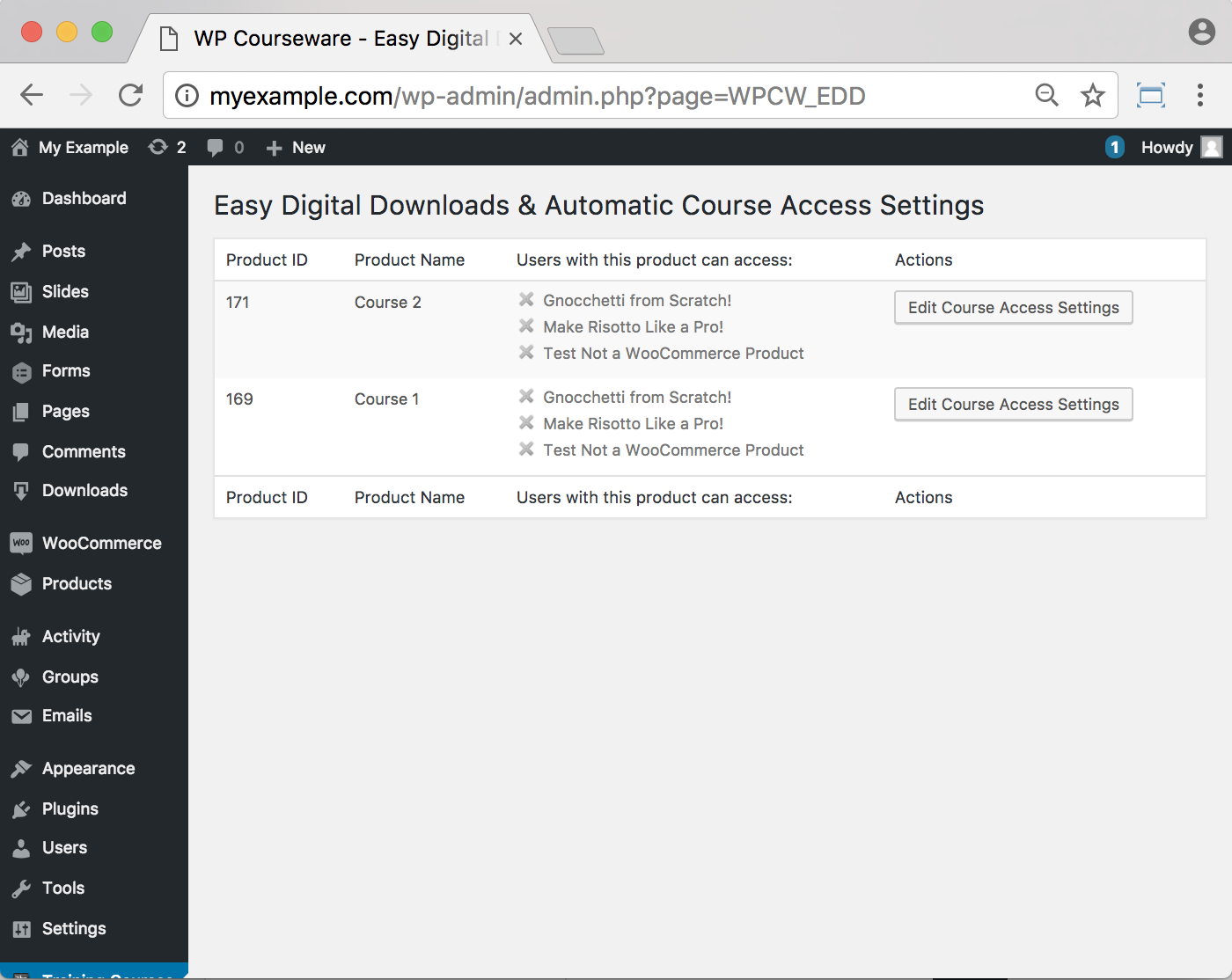 WP Courseware Easy Digital Downloads Add-On- Backend Assigning Course to Download 1