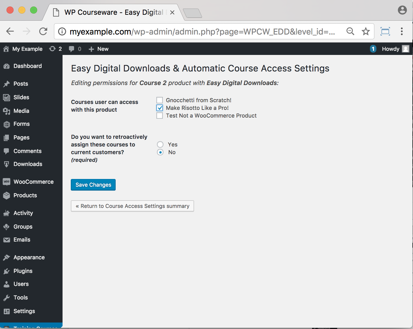 WP Courseware Easy Digital Downloads Add-On- Backend Assigning Course to Download 2