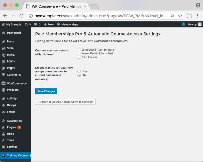 WP Courseware Paid Memberships Pro Add-On – Backend How to Assign a Course to a Level 2