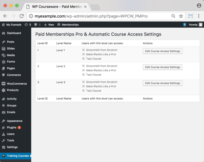 WP Courseware Paid Memberships Pro Add-On -Backend How to Assign a Course to a Level 1