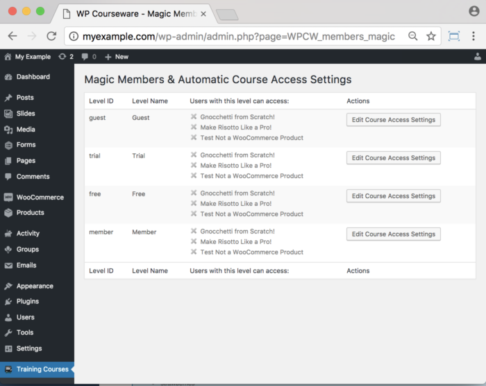 WP Courseware Magic Members Add-On- Backend Course Access Settings 1