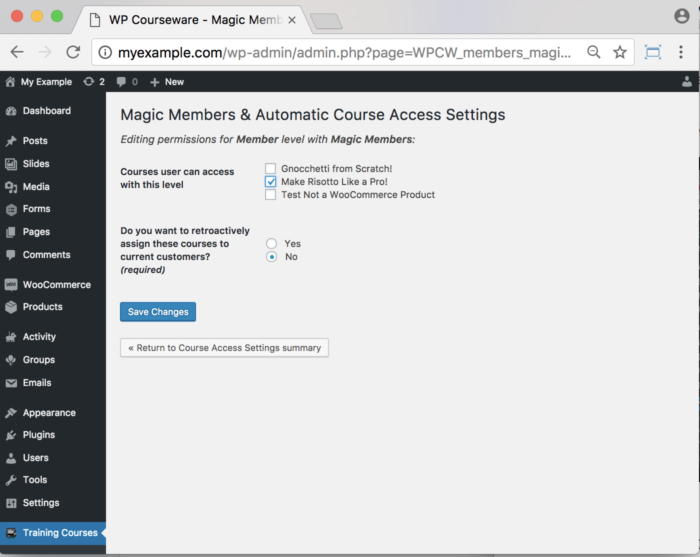 WP Courseware Magic Members Add-On- Backend Course Access Settings 2