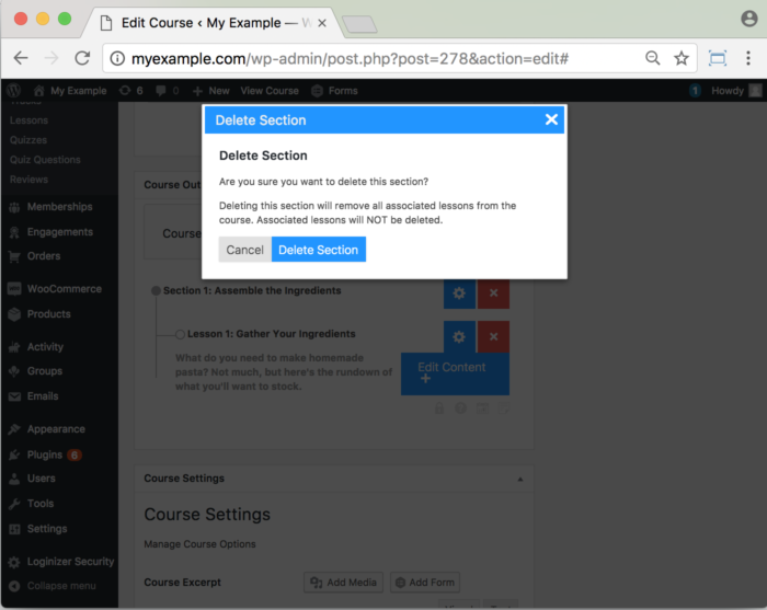 Lifter WordPress LMS Plugin- Add Sections- Delete Section
