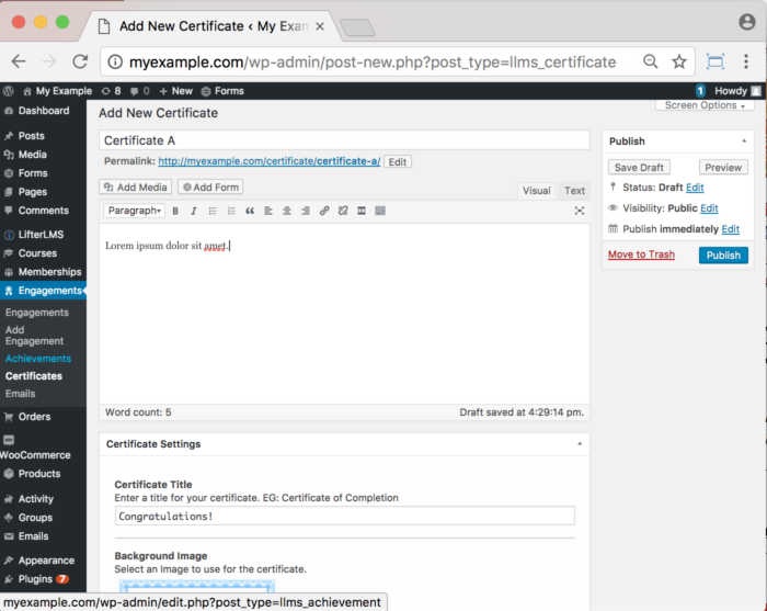 LifterLMS WordPress Plugin - Certificates Add New Certificate