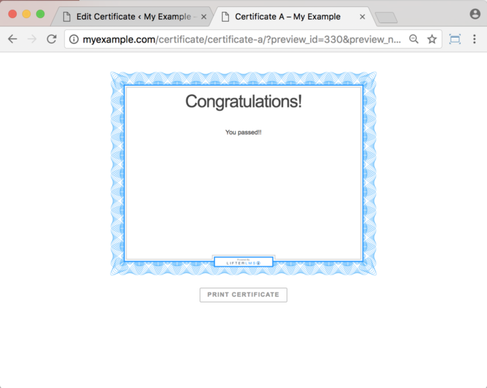 LifterLMS WordPress Plugin - Certificates Example Certificate