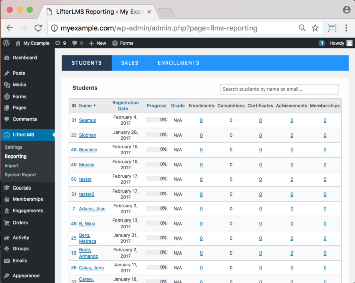 LifterLMS WordPress Plugin - Functionality Student Progress Reporting