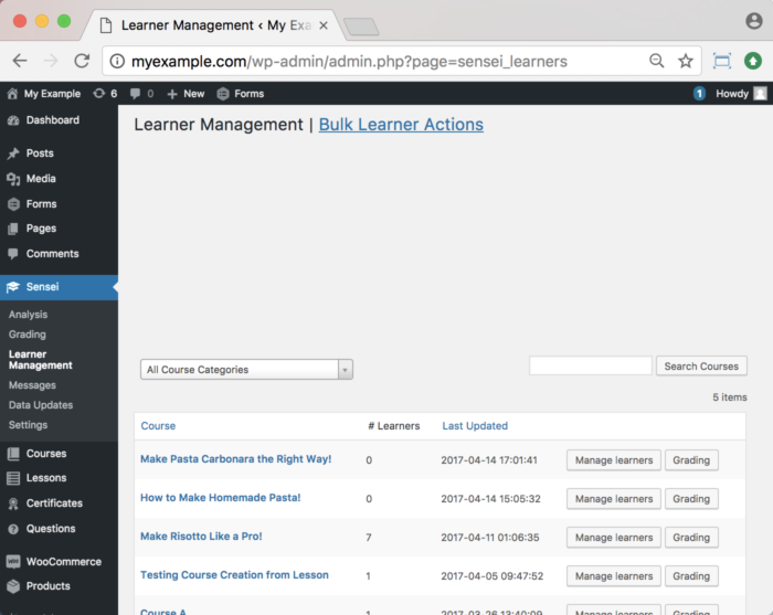 WooCommerce Sensei LMS Documentation - Learner Management Reset Progress 1